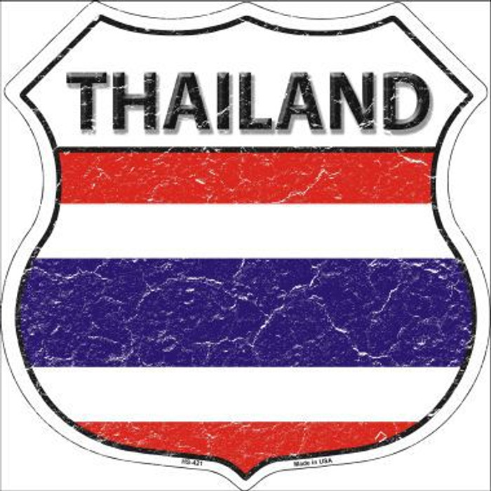 Thailand Country Flag Highway Shield Metal Sign