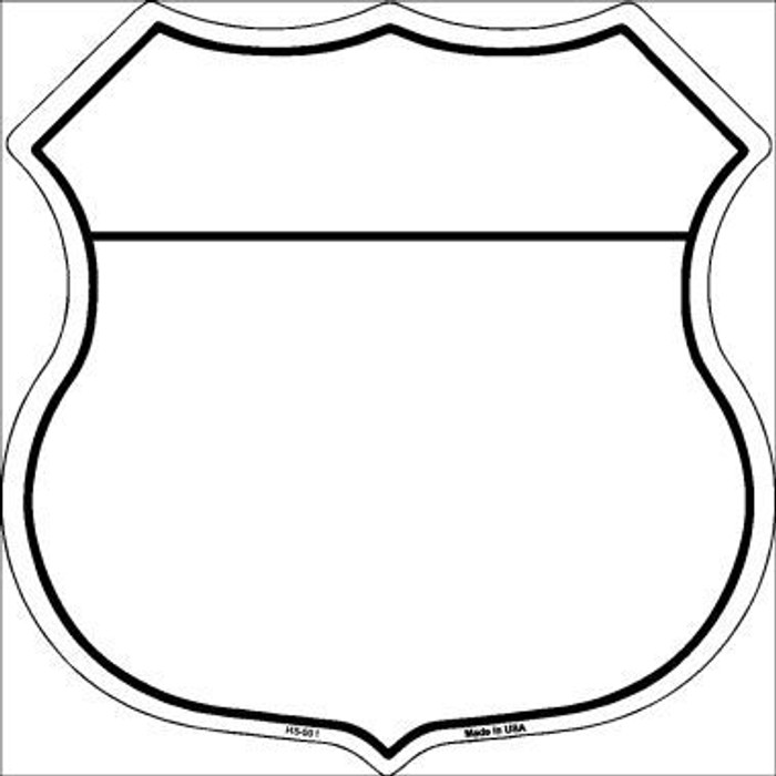 White|Black Plain Highway Shield Metal Sign