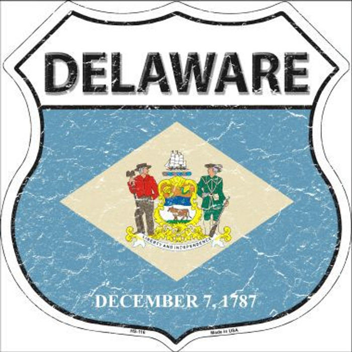 Delaware State Flag Highway Shield Metal Sign