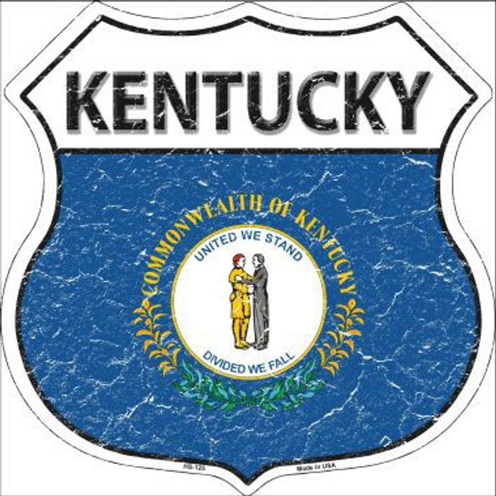 Kentucky State Flag Highway Shield Metal Sign