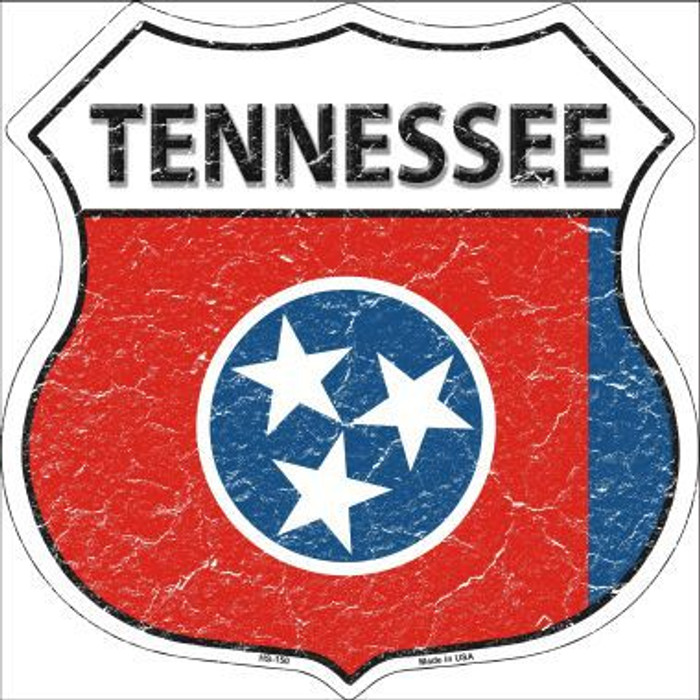 Tennessee State Flag Highway Shield Metal Sign