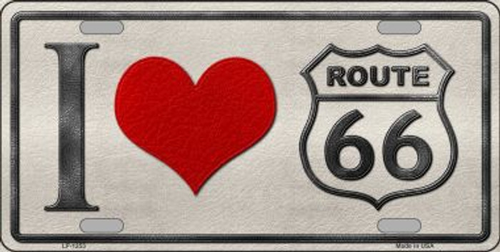 I Love Route 66 Novelty Metal License Plate