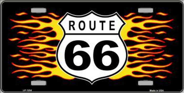 Route 66 Flames Novelty Metal License Plate