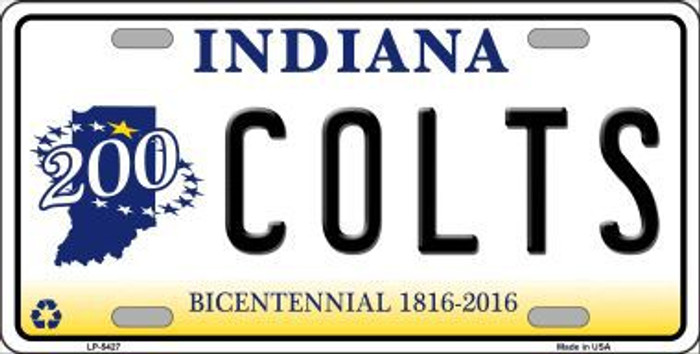 Colts Indiana State Background Novelty Metal License Plate LP-5427
