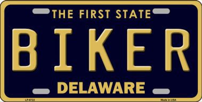 Biker Delaware Novelty Metal License Plate LP-6722
