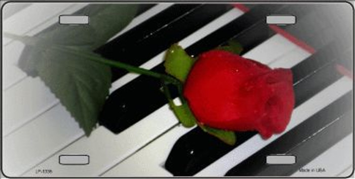 Piano Keys Red Rose Novelty Metal License Plate