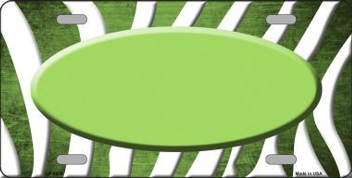 Lime Green White Zebra Oval Oil Rubbed Metal Novelty License Plate