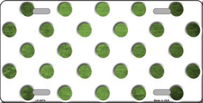 Lime Green White Dots Oil Rubbed Metal Novelty License Plate