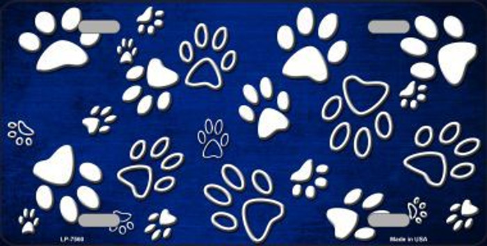 Blue White Paw Print Oil Rubbed Metal Novelty License Plate