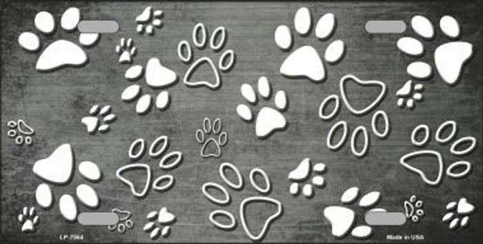 Gray White Paw Print Oil Rubbed Metal Novelty License Plate