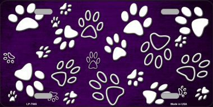 Purple White Paw Print Oil Rubbed Metal Novelty License Plate