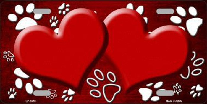 Paw Print Heart Red White Metal Novelty License Plate