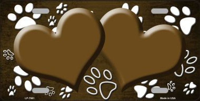 Paw Print Heart Brown White Metal Novelty License Plate