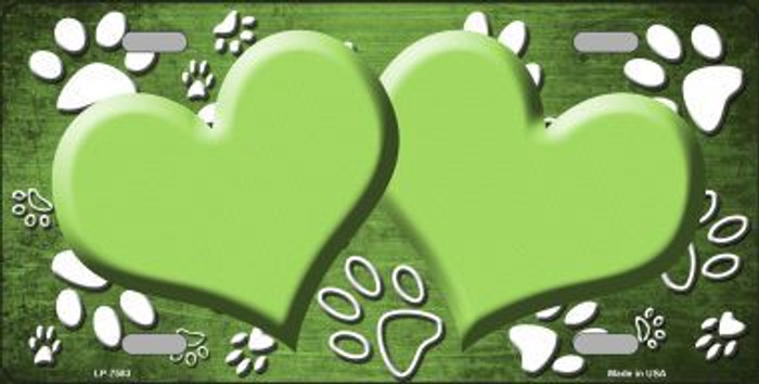 Paw Print Heart Lime Green White Metal Novelty License Plate