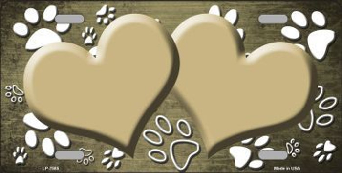 Paw Print Heart Gold White Metal Novelty License Plate