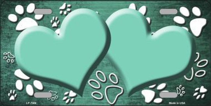 Paw Print Heart Mint White Metal Novelty License Plate