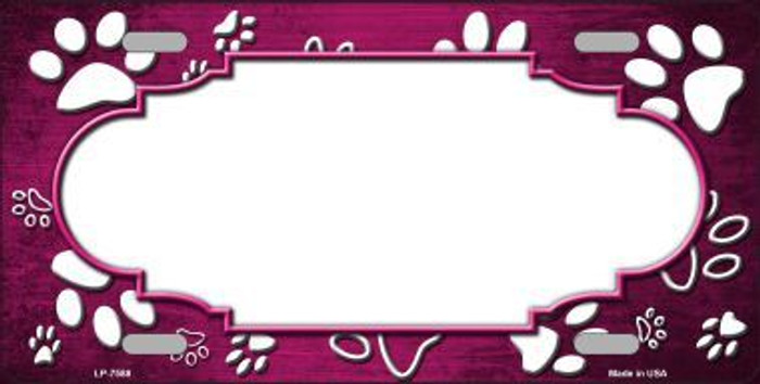 Paw Print Scallop Pink White Metal Novelty License Plate