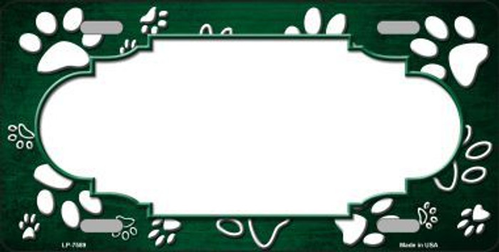 Paw Print Scallop Green White Metal Novelty License Plate