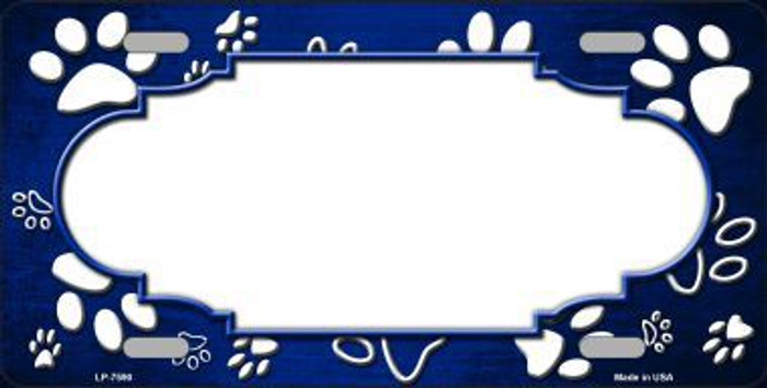 Paw Print Scallop Blue White Metal Novelty License Plate