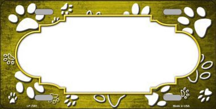 Paw Print Scallop Yellow White Metal Novelty License Plate