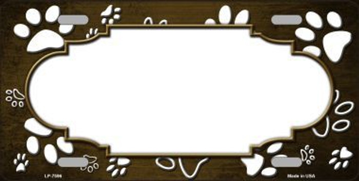 Paw Print Scallop Brown White Metal Novelty License Plate