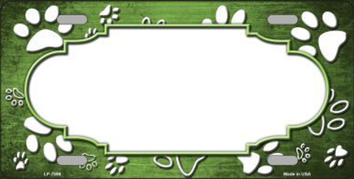 Paw Print Scallop Lime Green White Metal Novelty License Plate