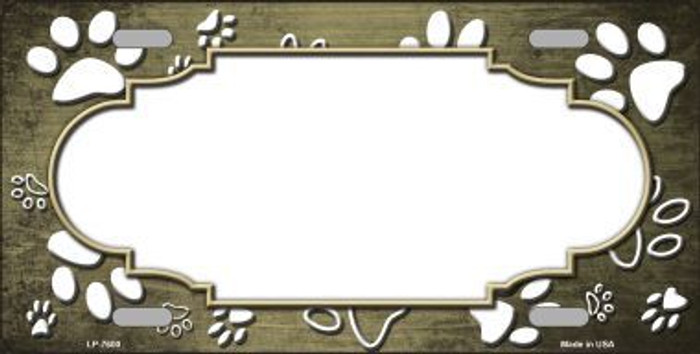Paw Print Scallop Gold White Metal Novelty License Plate
