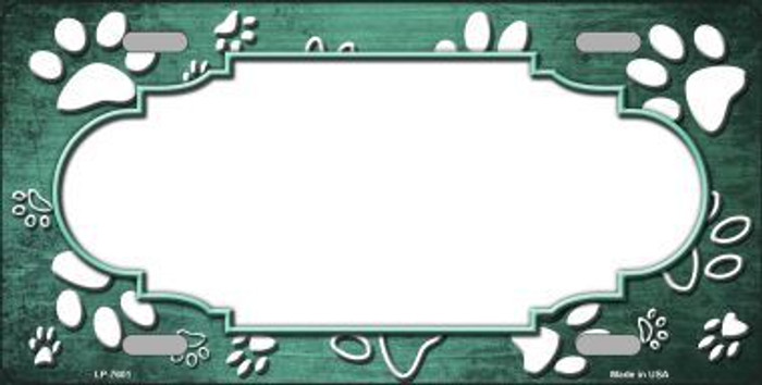 Paw Print Scallop Mint White Metal Novelty License Plate