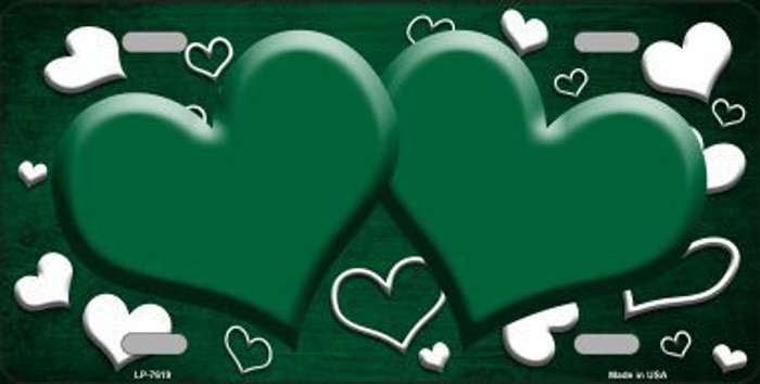 Green White Love Print Hearts Oil Rubbed Metal Novelty License Plate
