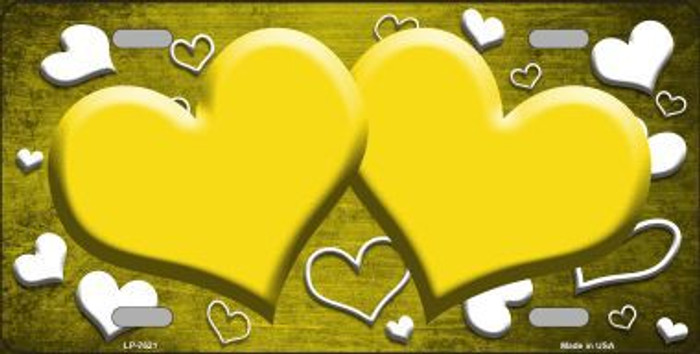 Yellow White Love Print Hearts Oil Rubbed Metal Novelty License Plate
