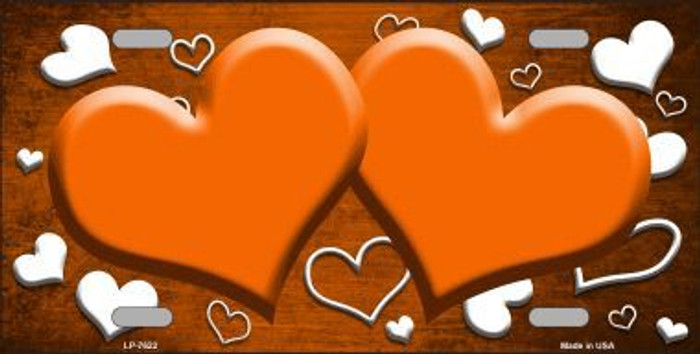 Orange White Love Print Hearts Oil Rubbed Metal Novelty License Plate