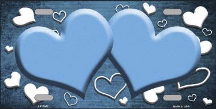 Light Blue White Love Print Hearts Oil Rubbed Metal Novelty License Plate