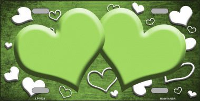 Lime Green White Love Print Hearts Oil Rubbed Metal Novelty License Plate
