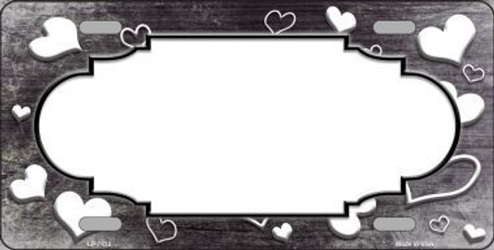 Black White Love Print Scallop Oil Rubbed Metal Novelty License Plate
