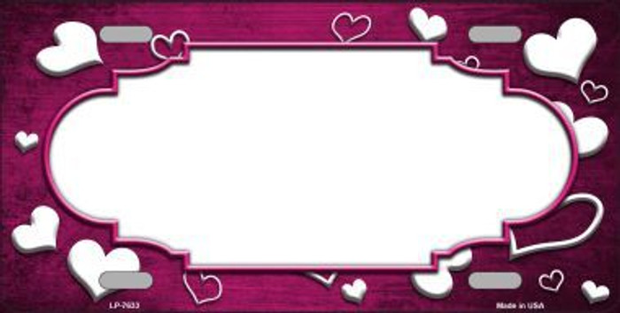Pink White Love Print Scallop Oil Rubbed Metal Novelty License Plate