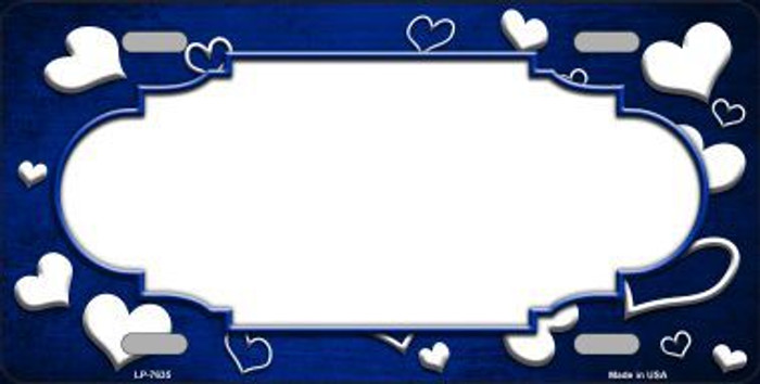 Blue White Love Print Scallop Oil Rubbed Metal Novelty License Plate