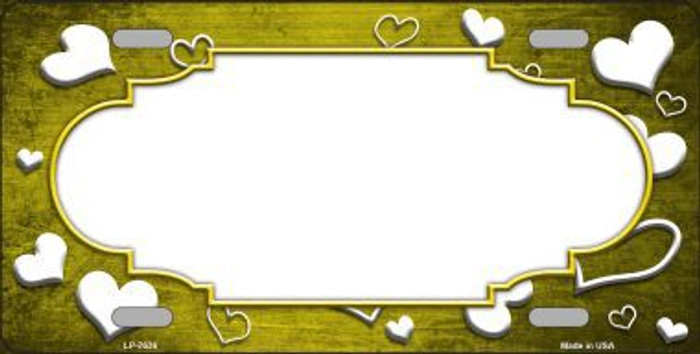 Yellow White Love Print Scallop Oil Rubbed Metal Novelty License Plate