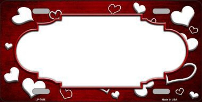 Red White Love Print Scallop Oil Rubbed Metal Novelty License Plate