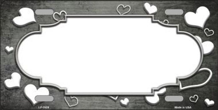 Gray White Love Print Scallop Oil Rubbed Metal Novelty License Plate