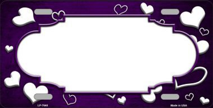 Purple White Love Print Scallop Oil Rubbed Metal Novelty License Plate