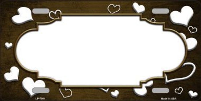 Brown White Love Print Scallop Oil Rubbed Metal Novelty License Plate