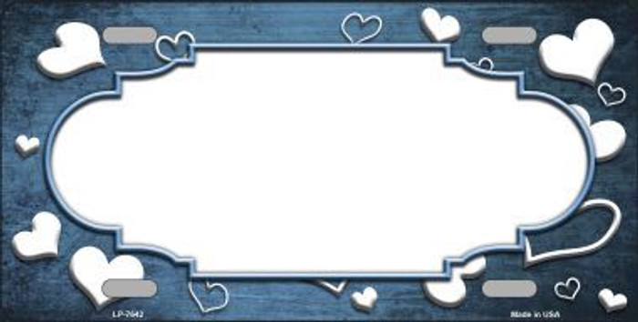 Light Blue White Love Print Scallop Oil Rubbed Metal Novelty License Plate