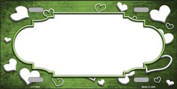 Lime Green White Love Print Scallop Oil Rubbed Metal Novelty License Plate
