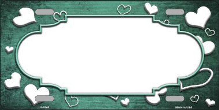 Mint White Love Print Scallop Oil Rubbed Metal Novelty License Plate