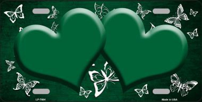 Green White Hearts Butterfly Print Oil Rubbed Metal Novelty License Plate