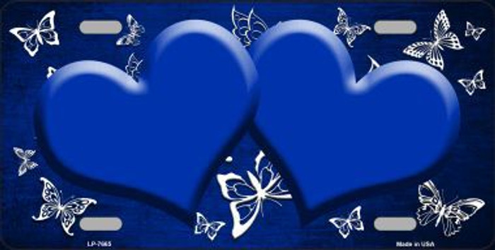 Blue White Hearts Butterfly Print Oil Rubbed Metal Novelty License Plate