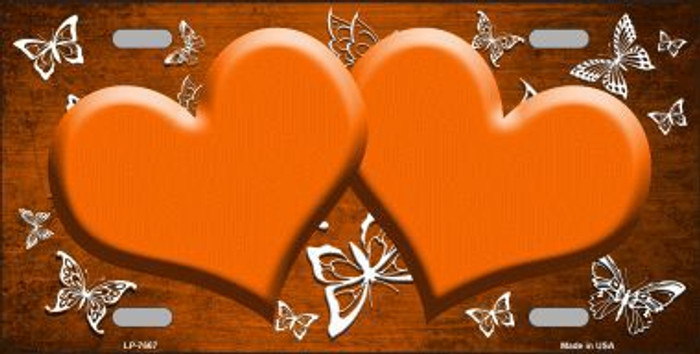 Orange White Hearts Butterfly Print Oil Rubbed Metal Novelty License Plate
