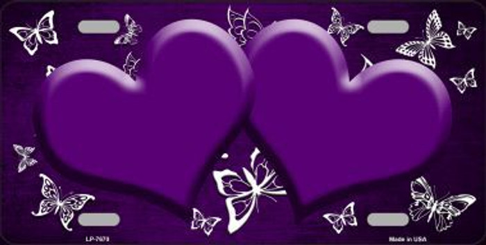 Purple White Hearts Butterfly Print Oil Rubbed Metal Novelty License Plate