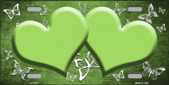 Lime Green White Hearts Butterfly Print Oil Rubbed Metal Novelty License Plate