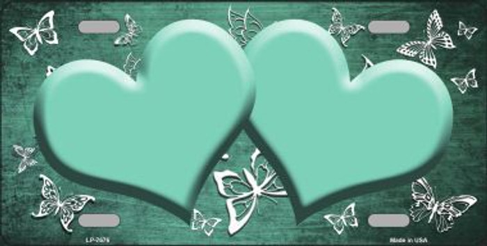 Mint White Hearts Butterfly Print Oil Rubbed Metal Novelty License Plate